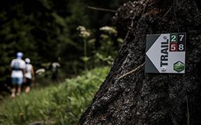Balisage, panneaux d'accueil et d'information pour le parcours trail Evotrail à Evolène